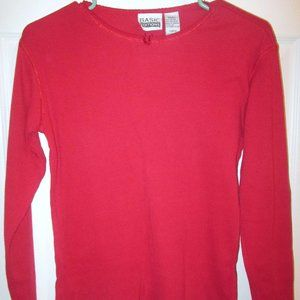 Basic Editions Ribbed Knit Long Sleeve Red Top Sm